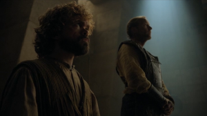 Tyrion and Jorah before the queen.