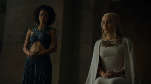 Daenerys seeks Tyrion's advice on what to do with Jorah.