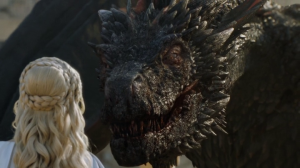 Daenerys face to face with Drogon.