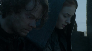 Theon and Sansa prepare to jump.