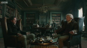 Jonathan Strange and Mr. Norrell having very civil breakup tea together.
