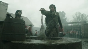 Jonathan Strange pulling water from the well. I DO love the look of the magic in this show.