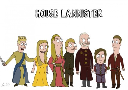 Imgur user CarlosDanger101 has drawn a ton of Game of Thrones characters in the style of Bob's Burgers. The Lannisters, of course, are objectively the best, but you can head over to Imgur to see them all.